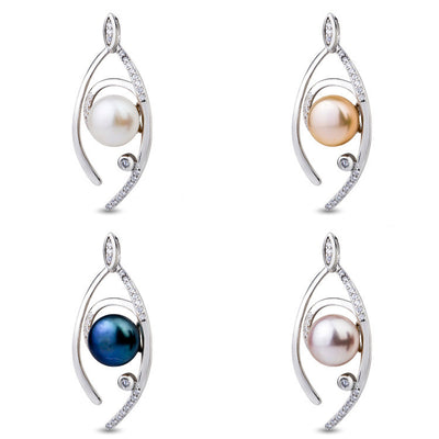 Sterling Silver Pearl in Angel Eyes Necklace Pendant Four Colors for Option - ABC Necklace