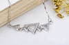 Sterling Silver Hollowed Out Triangles in a Line Pendant Necklace - ABC Necklace
