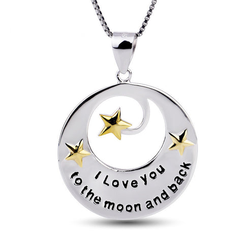 "Sterling Silver Hollowed Out Stars Engraved ""I love you to the moon and back"" Pendant Necklace - ABC Necklace"