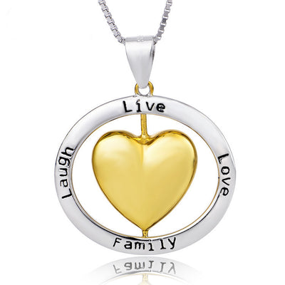 "Two Tone Heart in Circle Engraved ""Live Love Family Laugh"" Pendant Necklace with 18"" Box Chain - ABC Necklace"