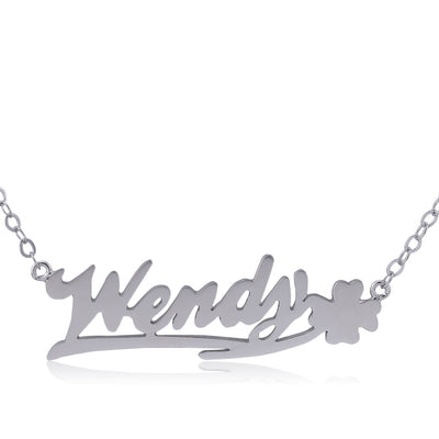 Sterling Silver Happy Clover on Right Name Necklace - ABC Necklace