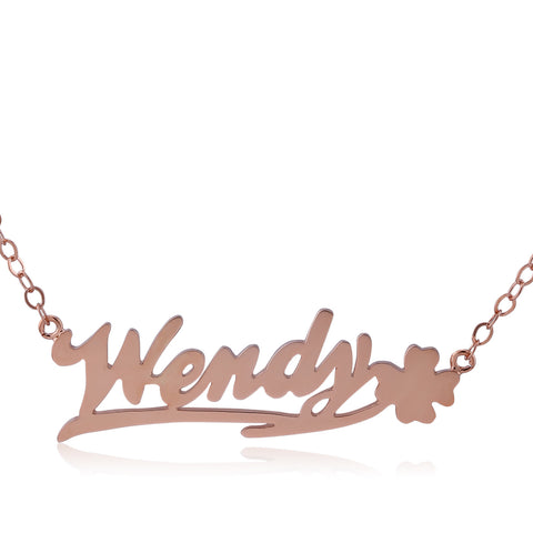 Rose Gold Plated Happy Clover on Right Name Necklace - ABC Necklace
