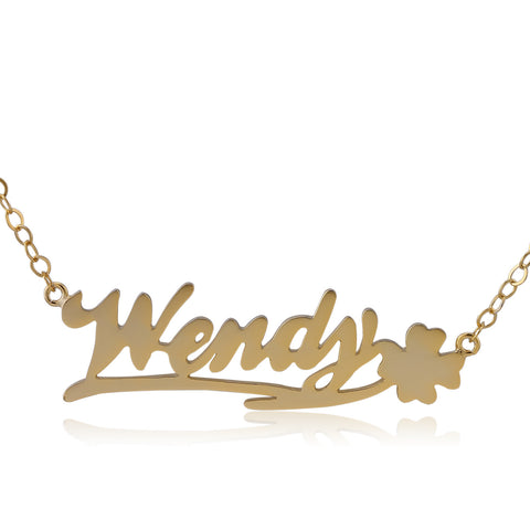 24K Gold Plated Happy Clover on Right Name Necklace - ABC Necklace