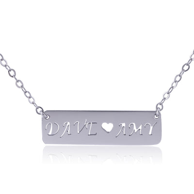 Sterling Silver Two Name Bar Necklace - ABC Necklace
