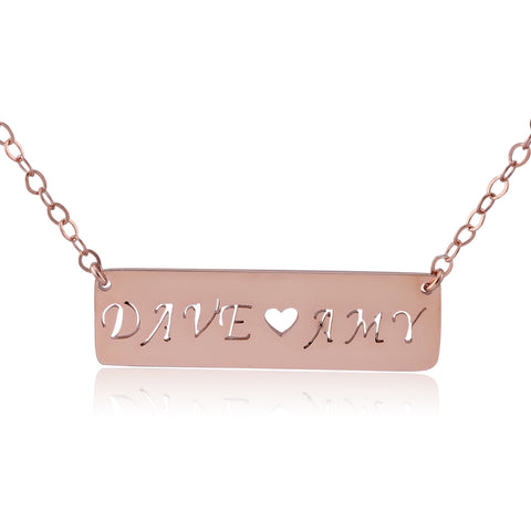 Rose Gold Plated Two Name Bar Necklace - ABC Necklace