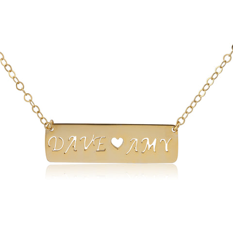 24K Gold Plated Couple Name Bar Necklace - ABC Necklace