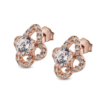 Rose Gold Zircon Happy Four Leaf Clover Ear Stud - ABC Necklace