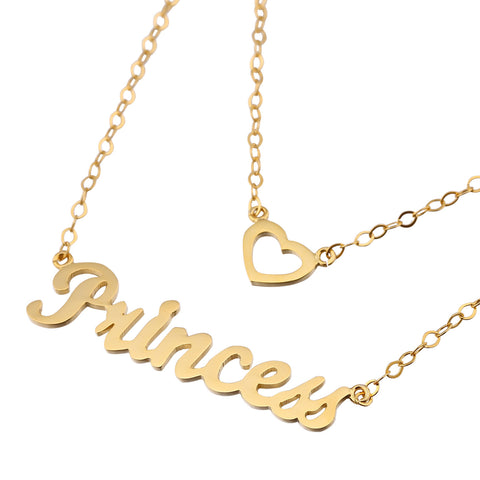 24K Gold Plated Layered Name Necklace - ABC Necklace