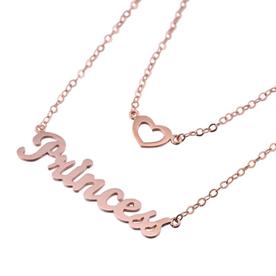 Rose Gold Plated Layered Name Necklace - ABC Necklace