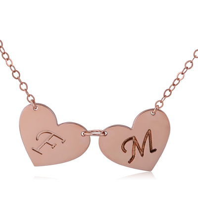 Rose Gold Plated Double Hearts Engraved Initial Letter Pendant Necklace - ABC Necklace