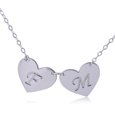 Sterling Silver Double Hearts Engraved Initial Letter Pendant Necklace - ABC Necklace