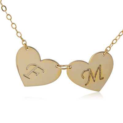 24k gold plated double hearts engraved initial letter pendant 24k gold plated double hearts engraved initial letter pendant necklace abc necklace mozeypictures Image collections