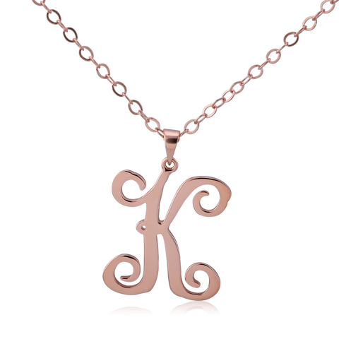 Rose Gold Plated Curly Initial Necklace - ABC Necklace