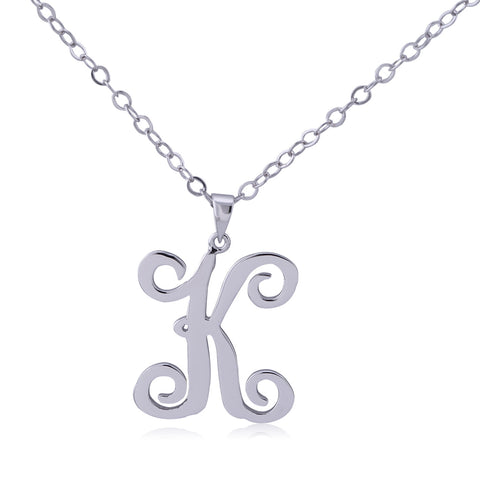 Sterling Silver Curly Initial Necklace - ABC Necklace