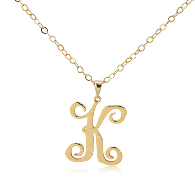 24K Gold Plated Curly Initial Necklace - ABC Necklace