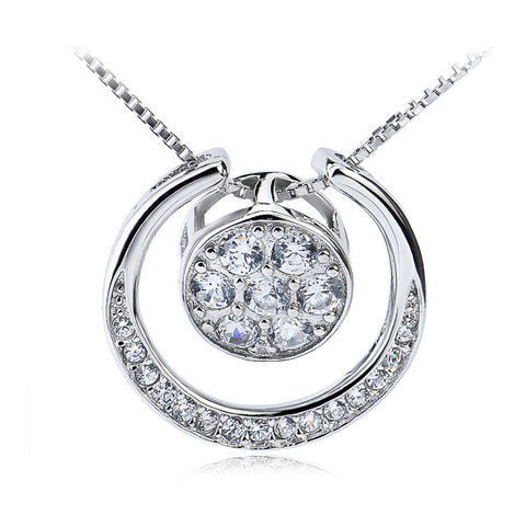 Sterling Silver Concentric Circles with Zirconia Pendant Necklace - ABC Necklace