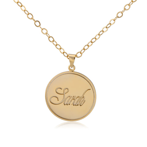 24K Gold Plated Stamp Name Necklace - ABC Necklace