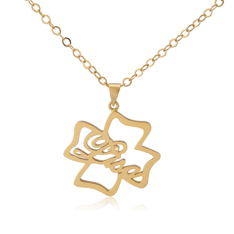 24K Gold Plated Name in Happy Clover Pendant Name Necklace - ABC Necklace