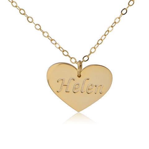 24K Gold Plated Heart Stamp Name Necklace - ABC Necklace