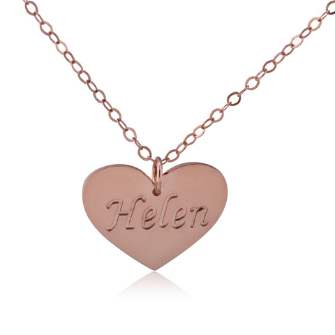 Rose Gold Plated Heart Stamp Name Necklace - ABC Necklace