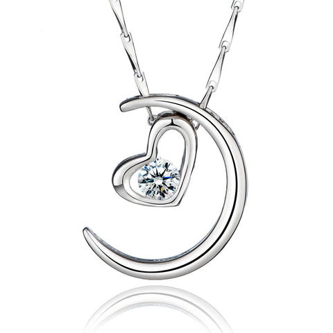 Sterling Silver Cubic Zironia in Heart and Moon Pendant Necklace - ABC Necklace