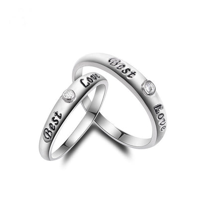 "Sterling Silver Engraved ""Best Love"" Couple Ring - ABC Necklace"
