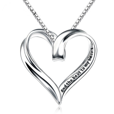 "Sterling Silver Hollowed Out Heart Engraved ""you are the smile to my face, and the beat to my heart"" Pendant Necklace - ABC Necklace"