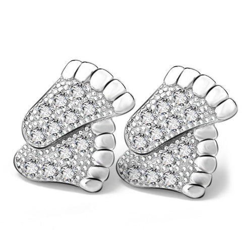 Sterling Silver Happy Little Feet Ear Stud with Zircon - ABC Necklace