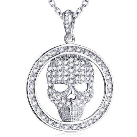 "Sterling Silver Micro Setting Hollowed Out Skull in a Circle Pendant Necklace with 18"" Rolo Chain - ABC Necklace"
