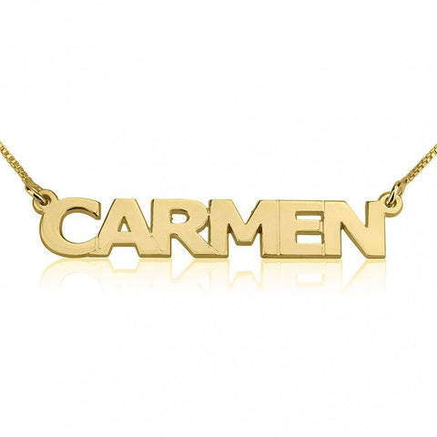 24K Gold Plated Block Letters Name Necklace - ABC Necklace