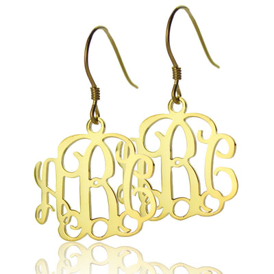24K Gold Plated Monogram Earrings - ABC Necklace