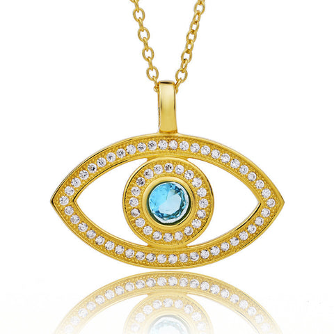 "Retro Style 18K Gold Plated over Sterling Silver Zirconia Eye Pendant Necklace with 18"" Rolo Chain - ABC Necklace"
