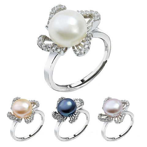 Sterling Silver  Zirconia Ring with Four Colors Fresh Water Pearl for Option - ABC Necklace