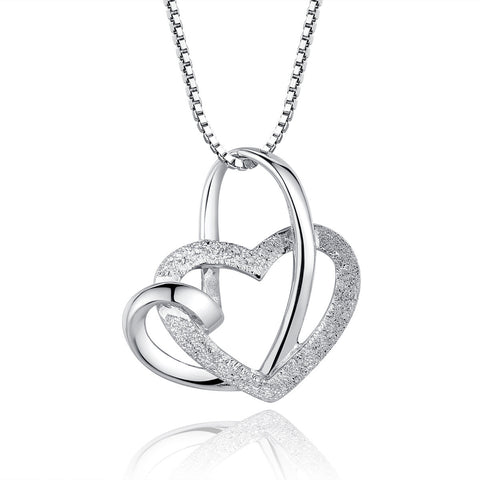 "Sterling Silver Heart Shaped Pendant Necklace with 18"" Box Chain - ABC Necklace"