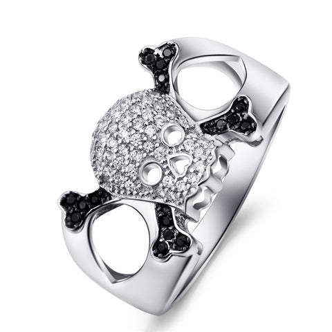 Sterling Silver Hollow Out Skull Ring for Both Men and Women - ABC Necklace