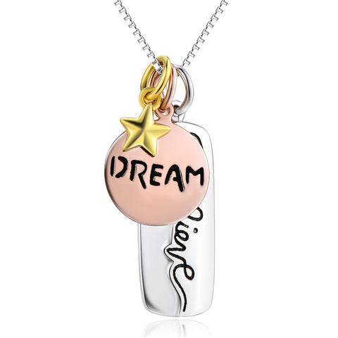 "Three Tone Engraved Believe Dream and Star Pendant Necklace with 18"" Box Chain - ABC Necklace"