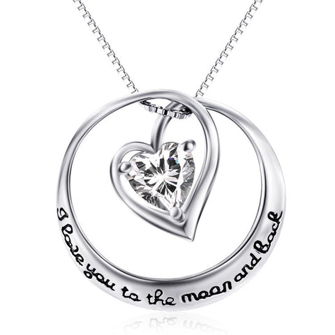 "White Gold Plated Engraved ""I love you to the moon and back"" Heart in Circle Pendant Necklace - ABC Necklace"