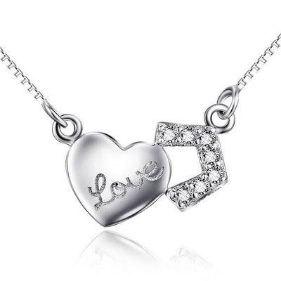 Sterling Silver Heart Shaped with Love on Pendant Necklace - ABC Necklace