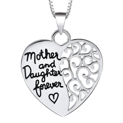 "Sterling Silver Half Heart Hollowed out Half Engraved ""Mother and Daughter forever"" Pendant Necklace - ABC Necklace"