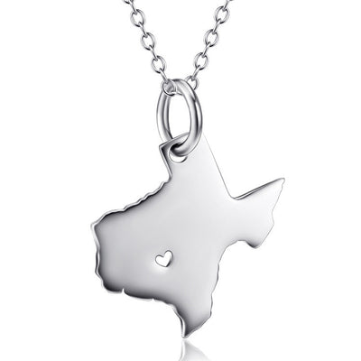 "Sterling Silver Texas Map Pendant Necklace with 18"" Rolo Chain - ABC Necklace"