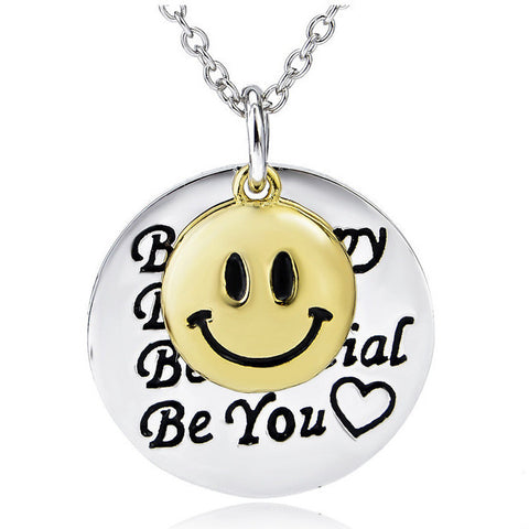 "Sterling Silver Two Tone Engraved ""Be Happy, Be True, Be Special, Be You"" Smile Small Tone Pendant Necklace 18"" - ABC Necklace"