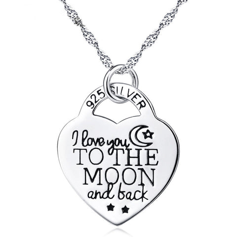 "Sterling Silver ""I Love You to the Moon and Back"" Heart Pendant Necklace - ABC Necklace"