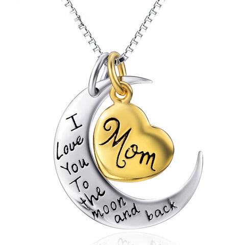 "Two-Tone Sterling Silver ""Mom I Love You To The Moon and Back"" Heart Pendant - ABC Necklace"