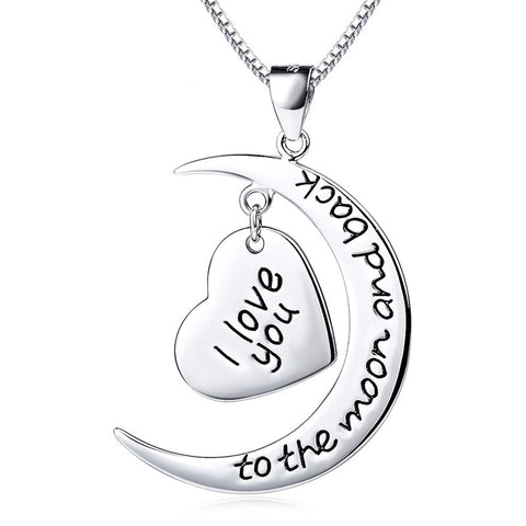 "Sterling Silver ""I Love You to the Moon and Back"" Heart & Moon Pendant Necklace - ABC Necklace"