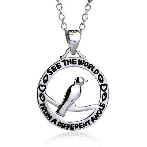 "Sterling Silver ""See The World From A Different Angle"" Bird Pendant Necklace - ABC Necklace"