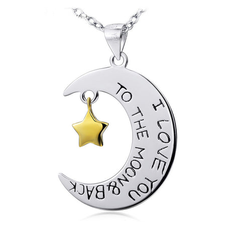 "Two-Tone ""I Love You To The Moon and Back"" Moon and Star Pendant Necklace - ABC Necklace"