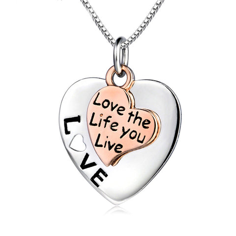 "Two Tone Silver ""Love the life you live"" Love Heart Pendant Necklace - ABC Necklace"