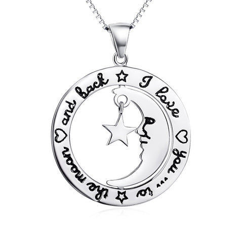 "Sterling Silver ""I Love You to the Moon and Back"" Smile Moon to Star Necklace - ABC Necklace"