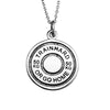 Sterling Silver Fitness Barbell Lifter Weight Plate Train Hard Or Go Home Pendant Necklace - ABC Necklace