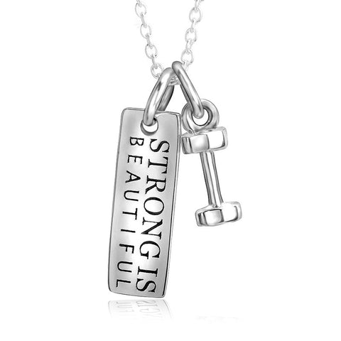 "Sterling Silver ""Strong Is Beautiful"" Dumbbell Pendant Necklace - ABC Necklace"